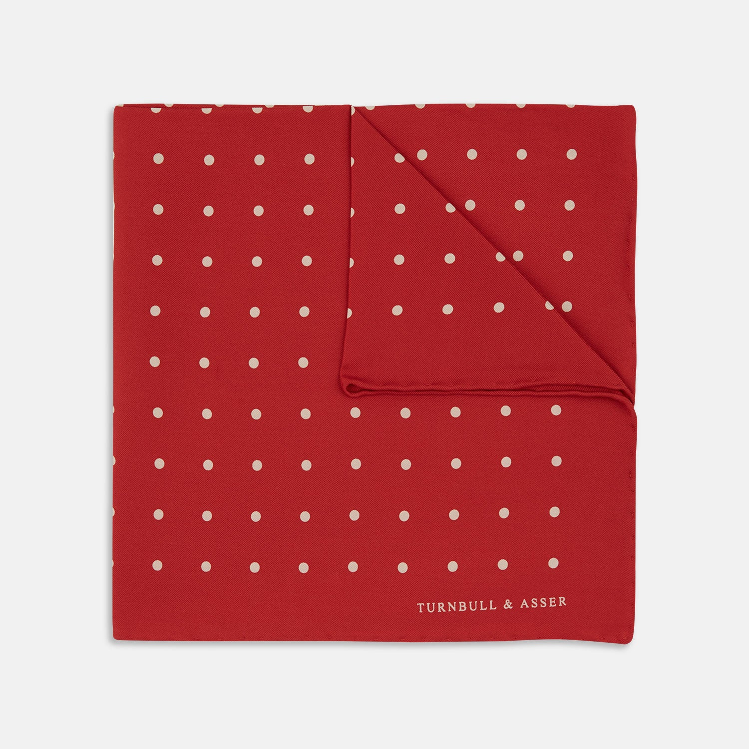 Red and White Spot Silk Pocket Square