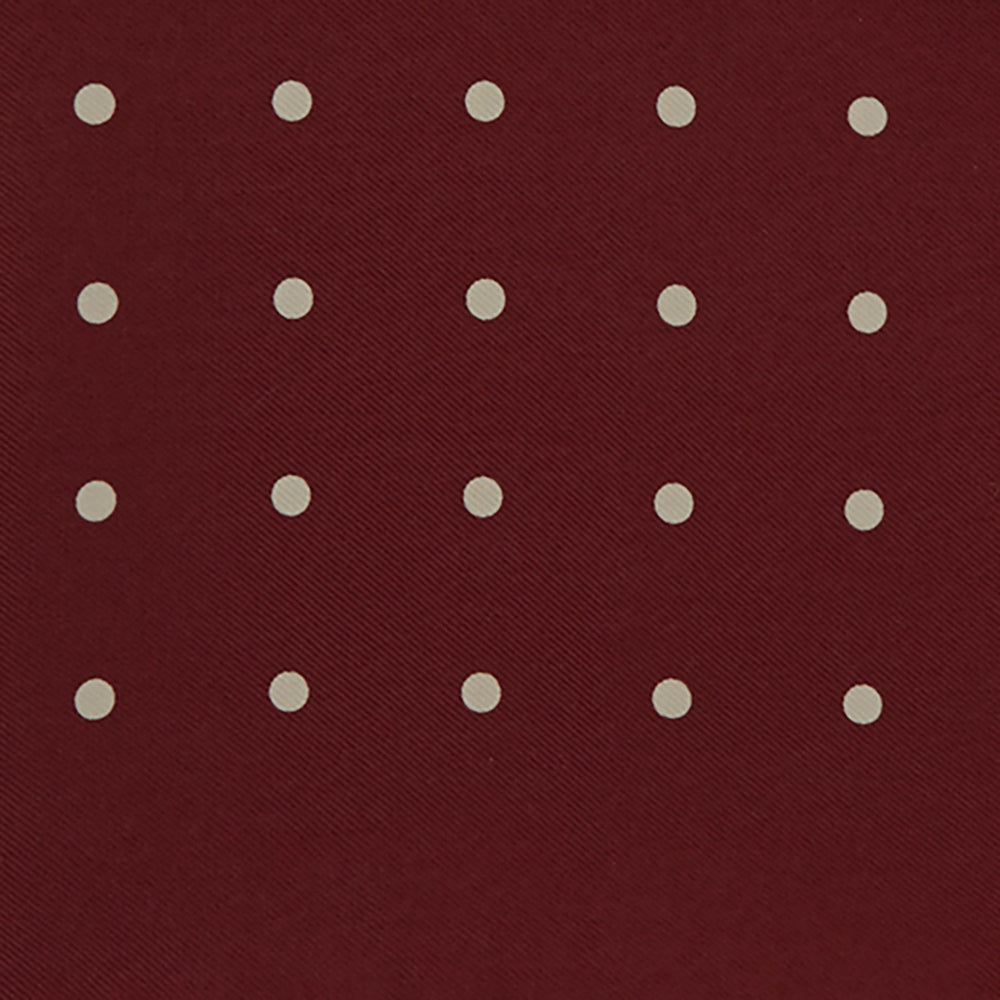 Burgundy Spot Silk Pocket Square