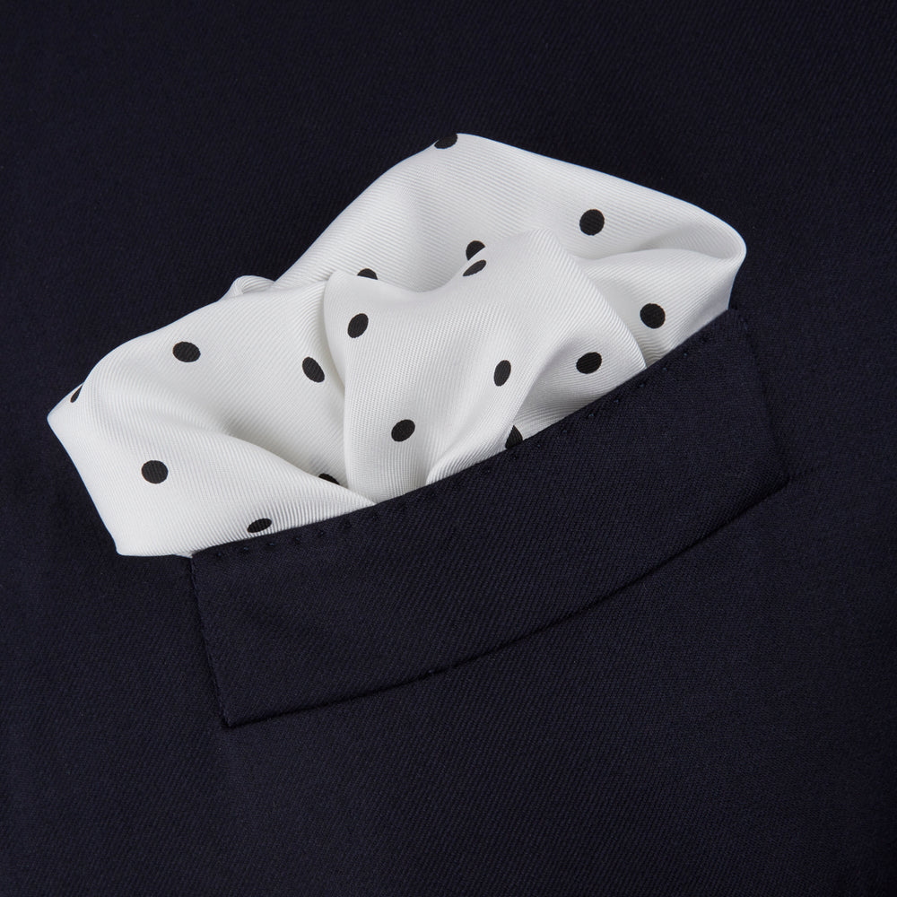 White and Black Spot Silk Pocket Square