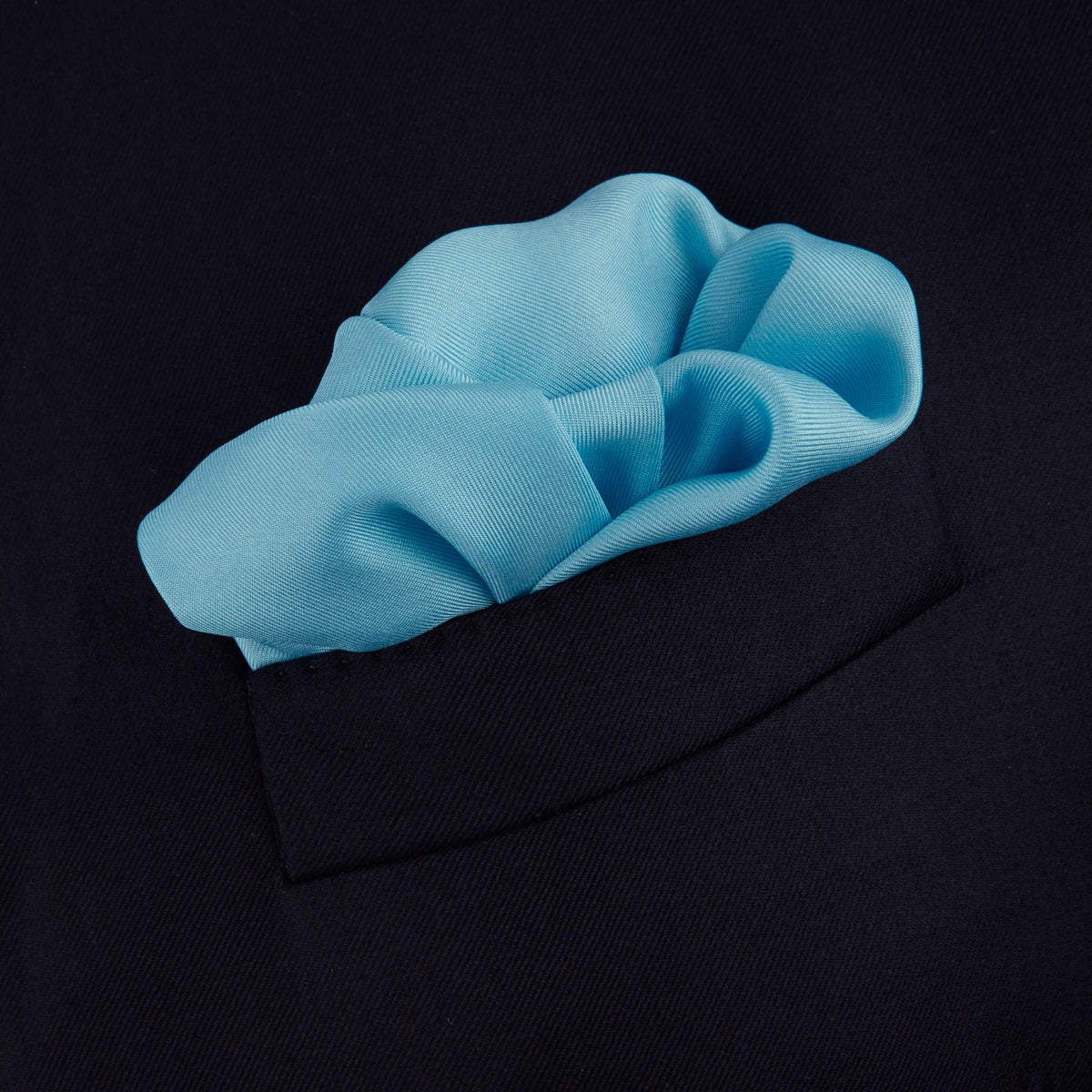 Plain Aquamarine Silk Pocket Square with White piping