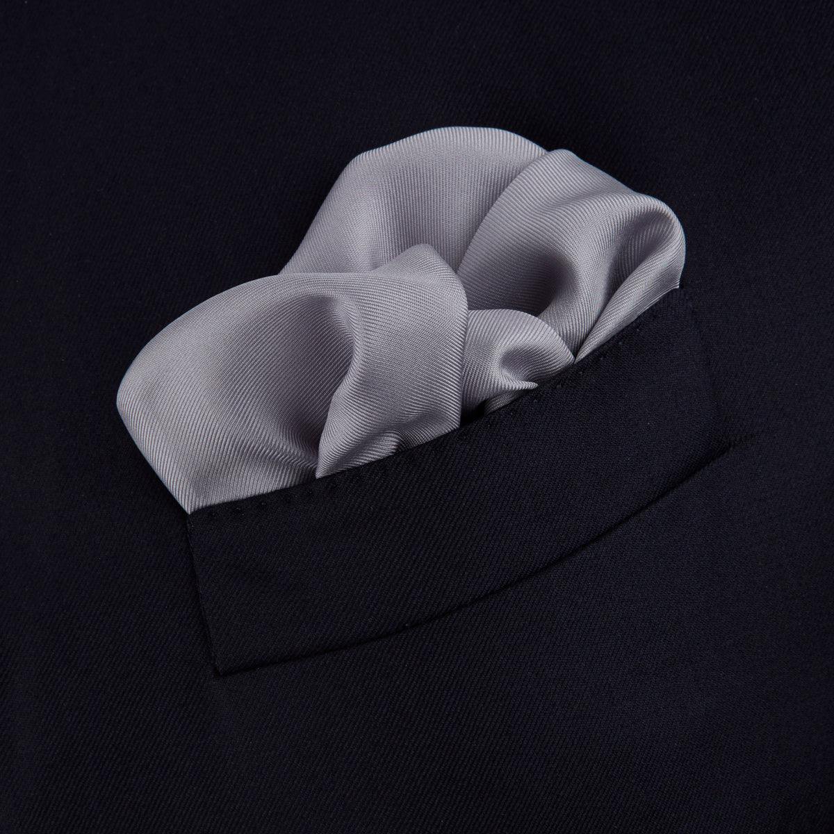 Grey and White Piped Silk Pocket Square