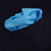Blue and White Piped Silk Pocket Square