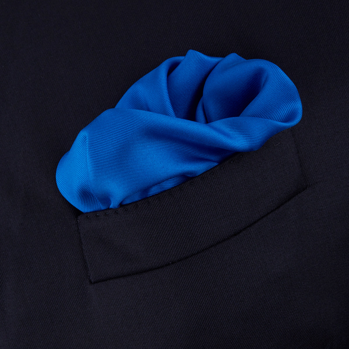 Royal Blue Piped Silk Pocket Square