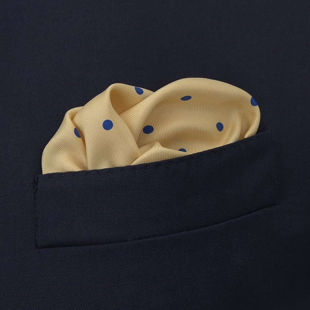 Yellow and Blue Spot Silk Pocket Square