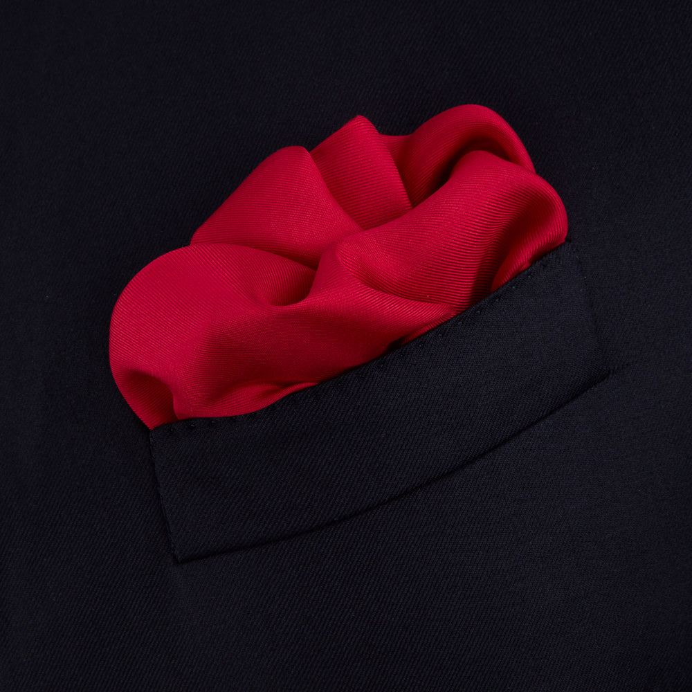 Red and Navy Piped Silk Pocket Square