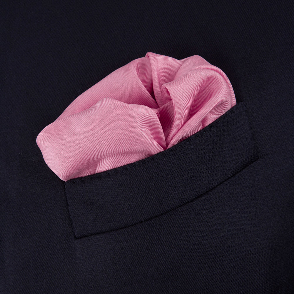 Rose and Navy Piped Silk Pocket Square