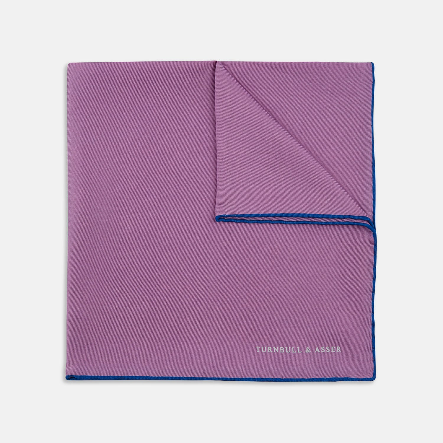 Lilac and Blue Piped Silk Pocket Square