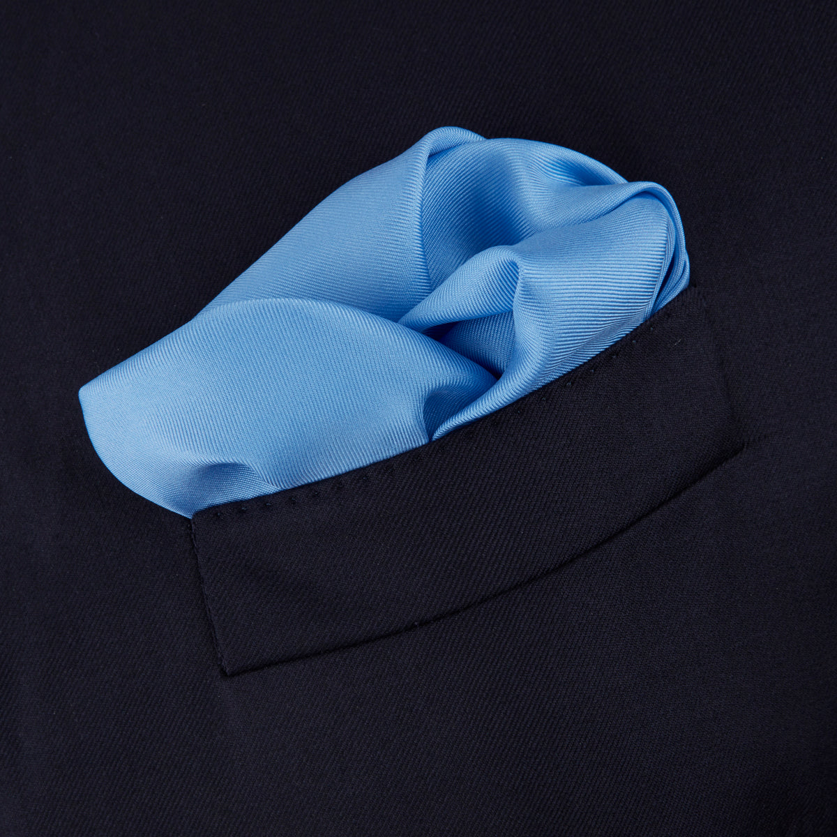 Light Blue and Navy Piped Silk Pocket Square