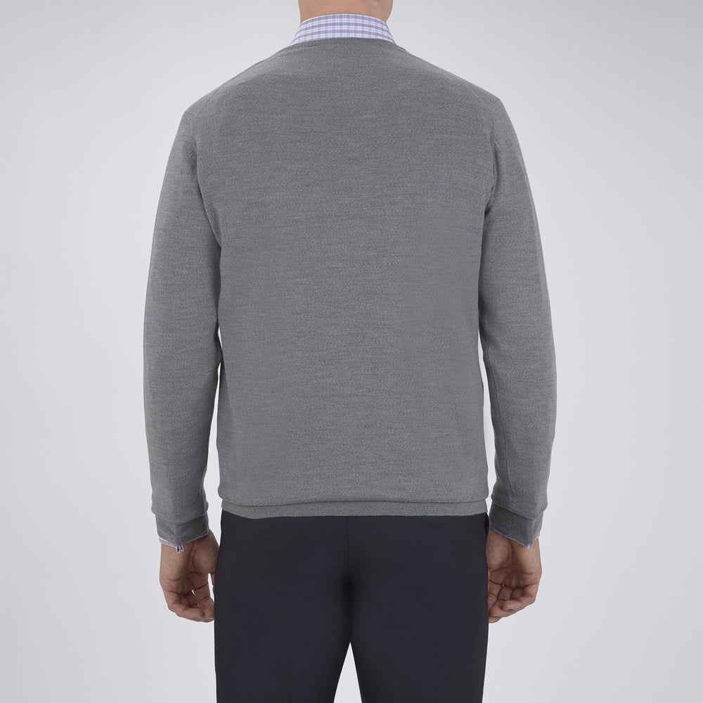 Grey V-Neck Merino Wool Jumper