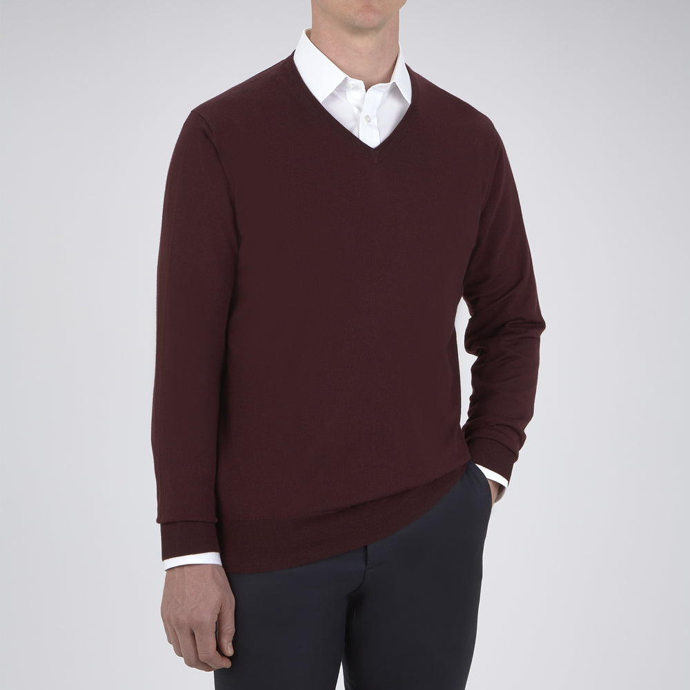 Wine V-Neck Merino Wool Jumper