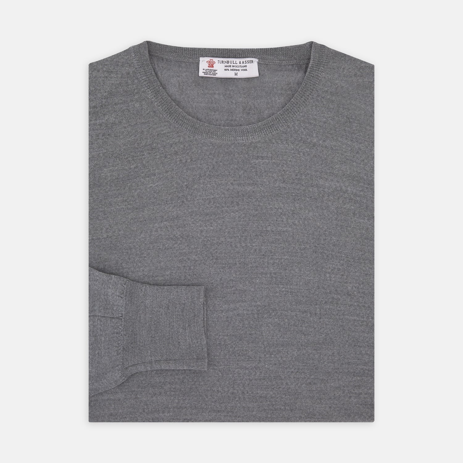 Grey Crew Neck Merino Wool Jumper