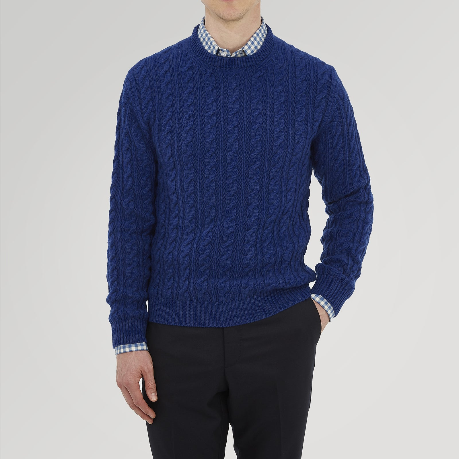 Blue Crew Neck Cable Knit Cashmere Jumper
