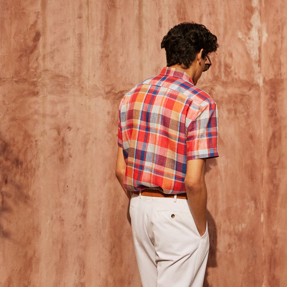 Red Madras Check Weekend Fit Short Sleeve Linen Shirt with Dorset Collar