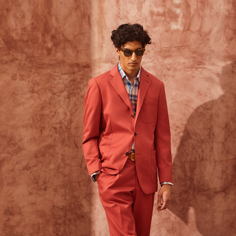 Clay Red Cotton 3 Button Blazer