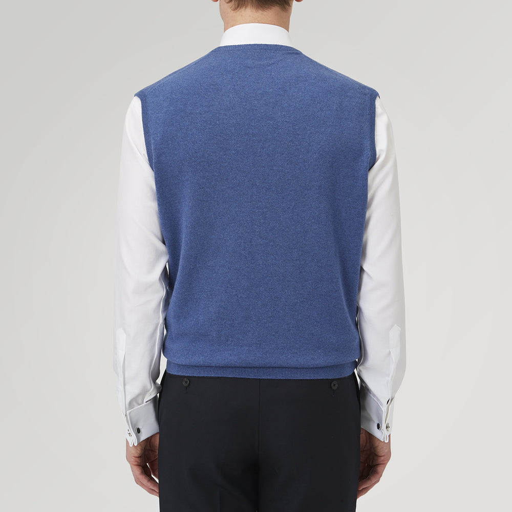 Blue V-Neck Cashmere Slipover