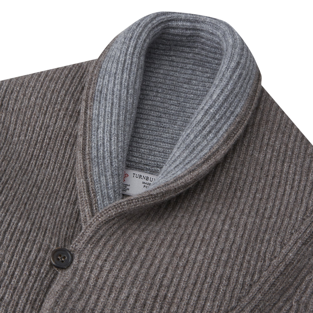 Taupe and Mid-Grey Shawl Collar Cashmere Jumper