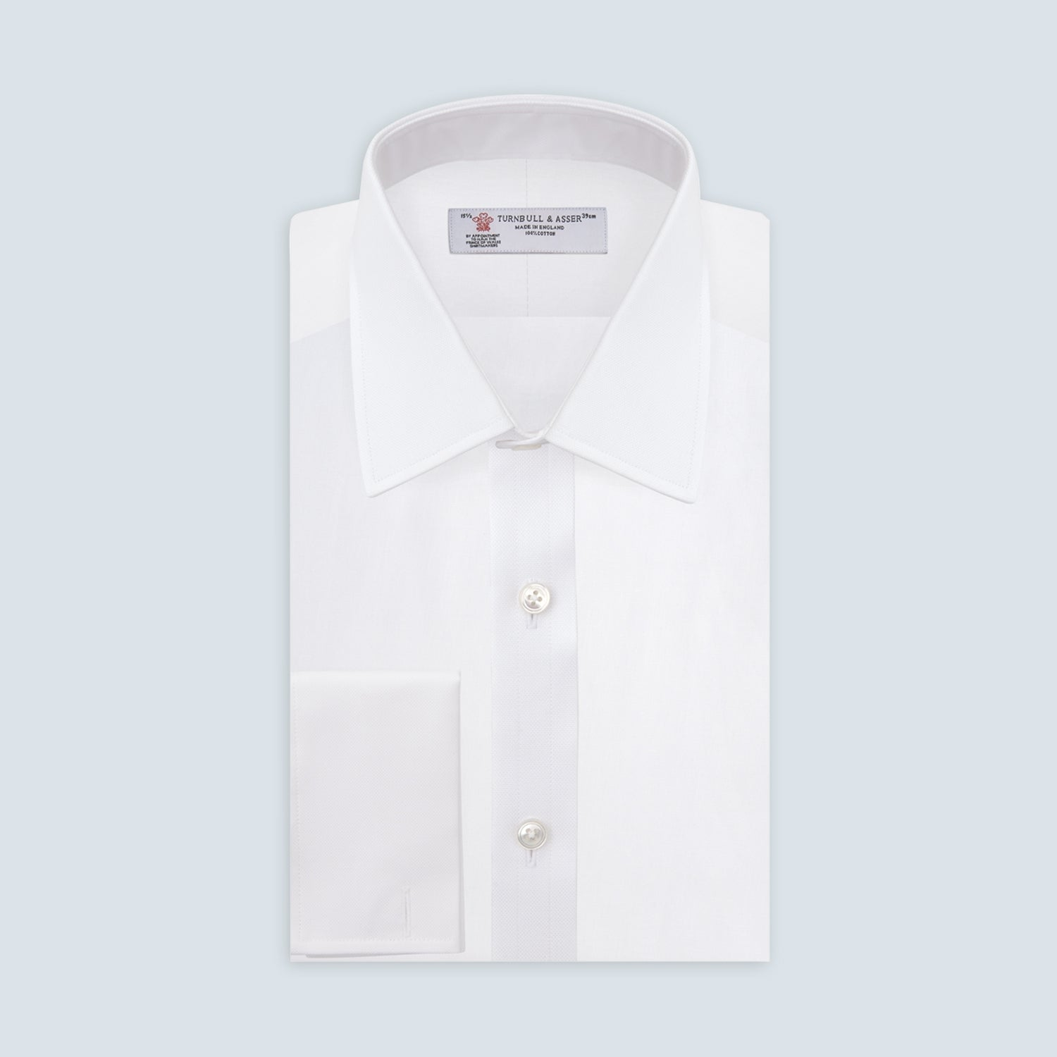White Superfine Oxford Cotton Shirt with T&A Collar and Double Cuffs