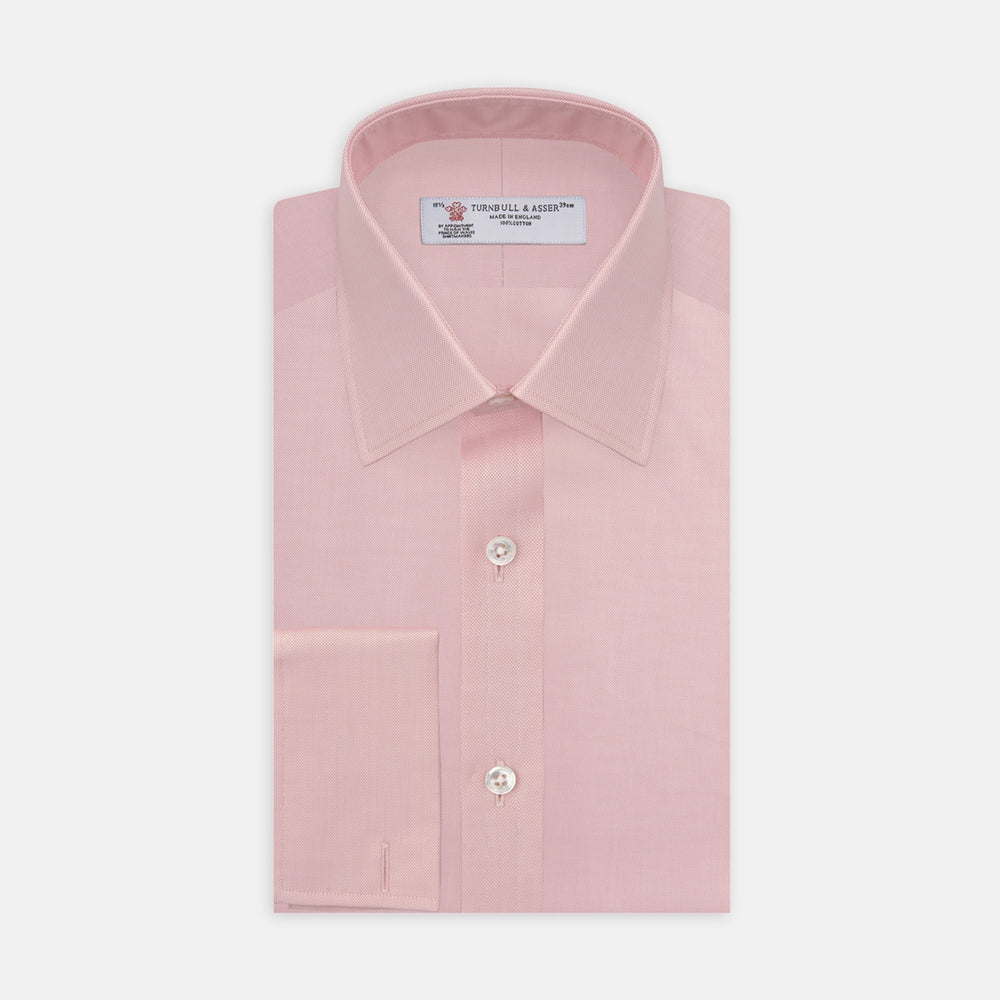 Pink Superfine Oxford Cotton Shirt with T&A Collar and Double Cuffs