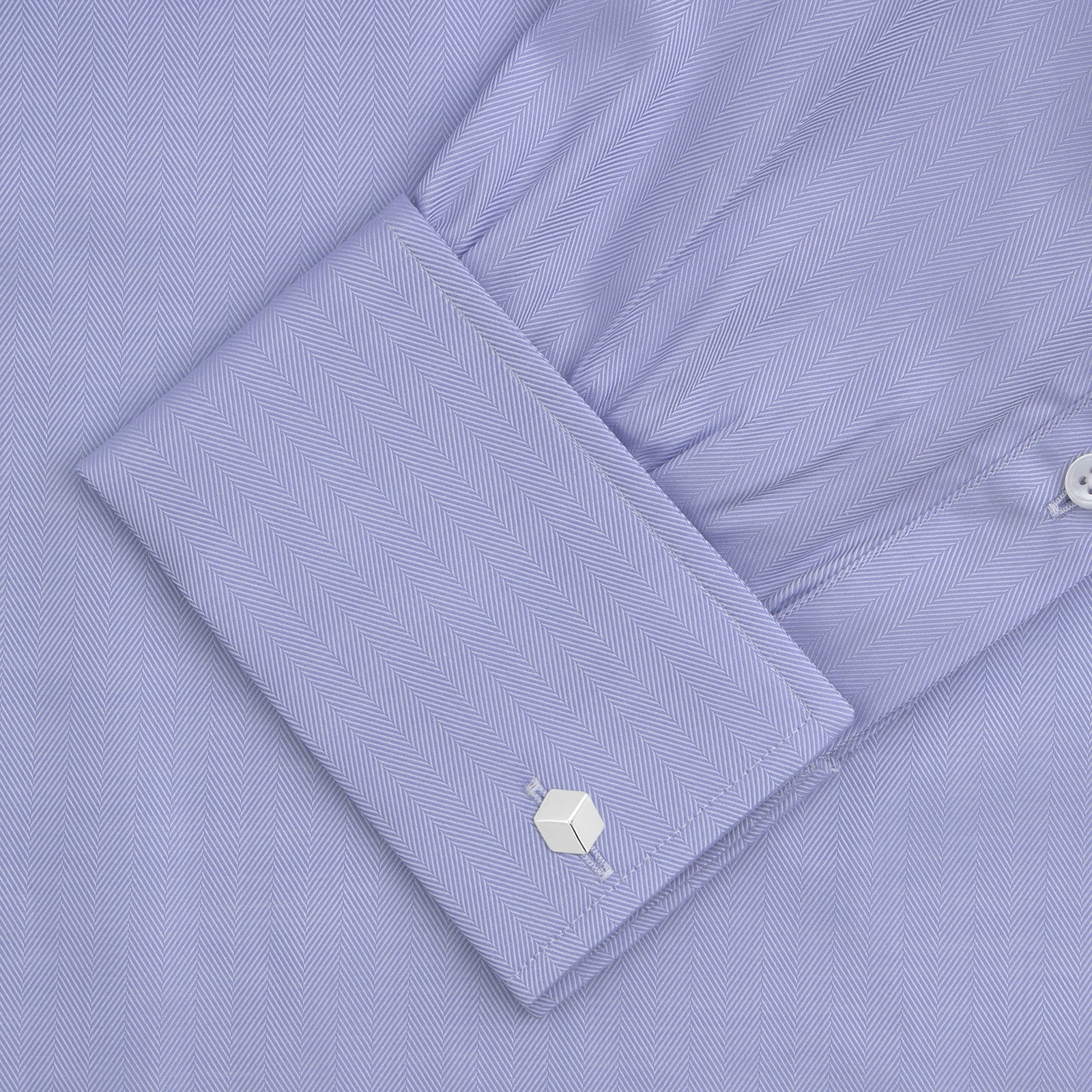 Light Blue Herringbone Sea Island Quality Cotton Shirt with T&A Collar and Double Cuffs