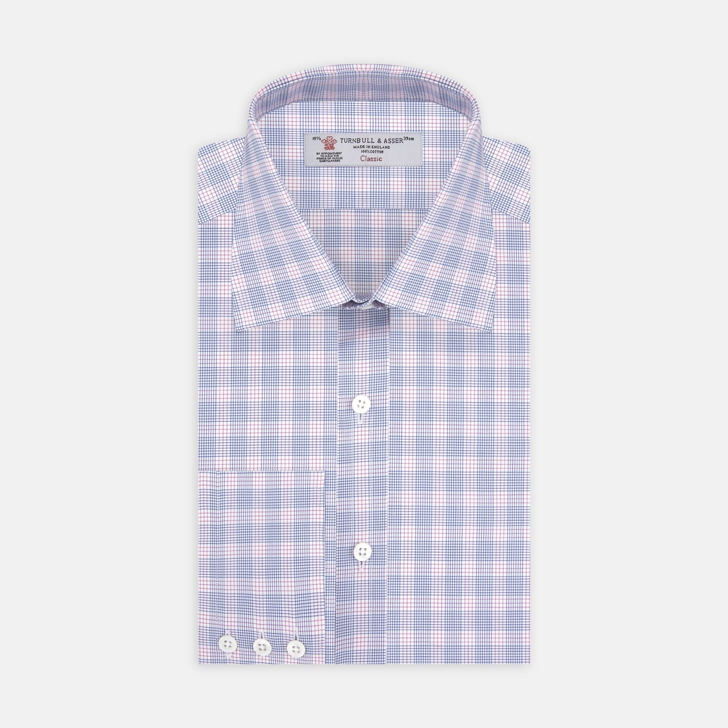 Blue and Pink CrossCheck Shirt with T&A Collar and 3-Button Cuffs