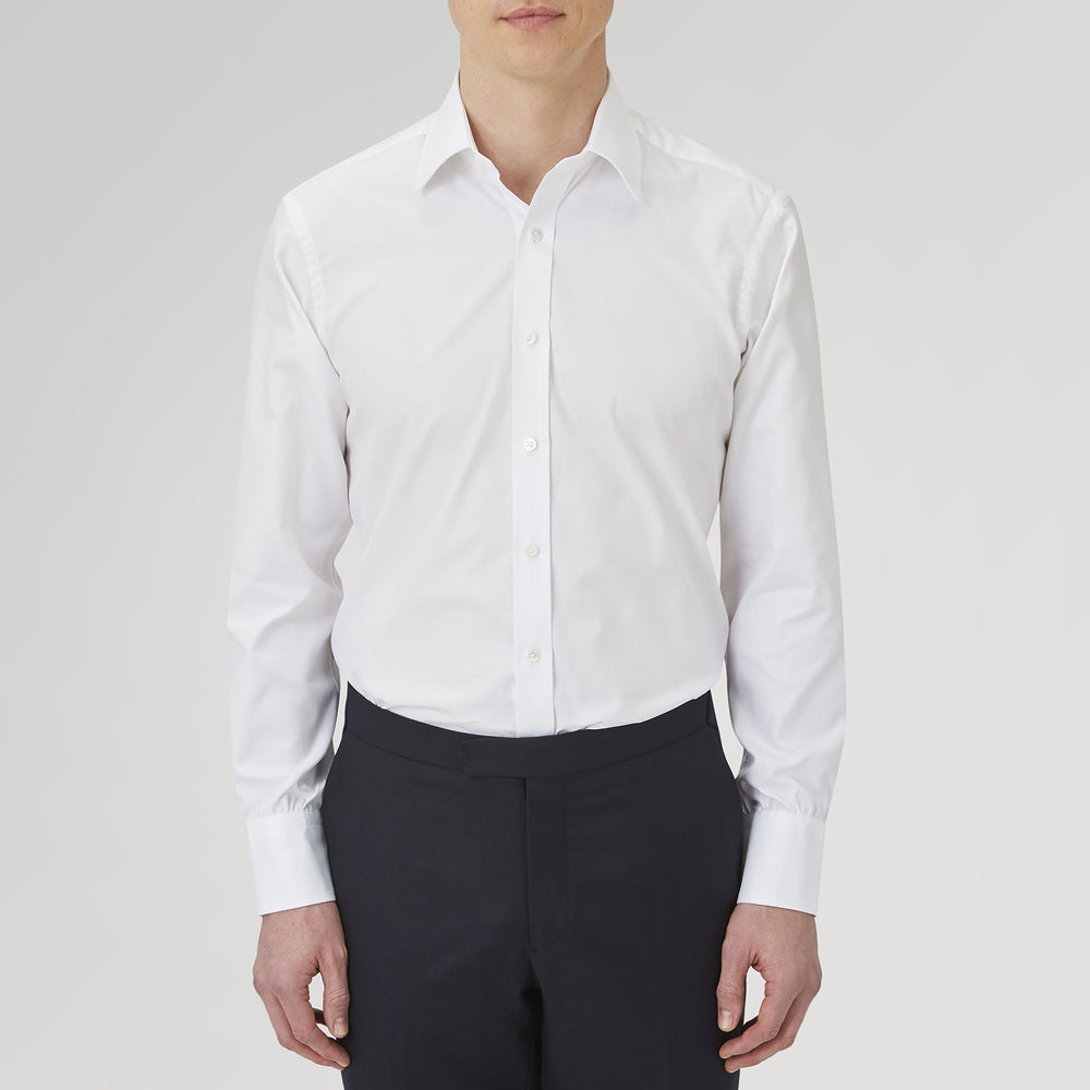 White Superfine Oxford Cotton Shirt with T&A Collar and 3-Button Cuffs