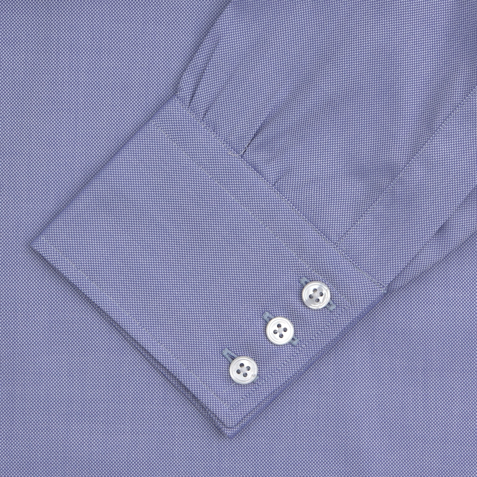 Blue Superfine Oxford Cotton Shirt with T&A Collar and 3-Button Cuffs