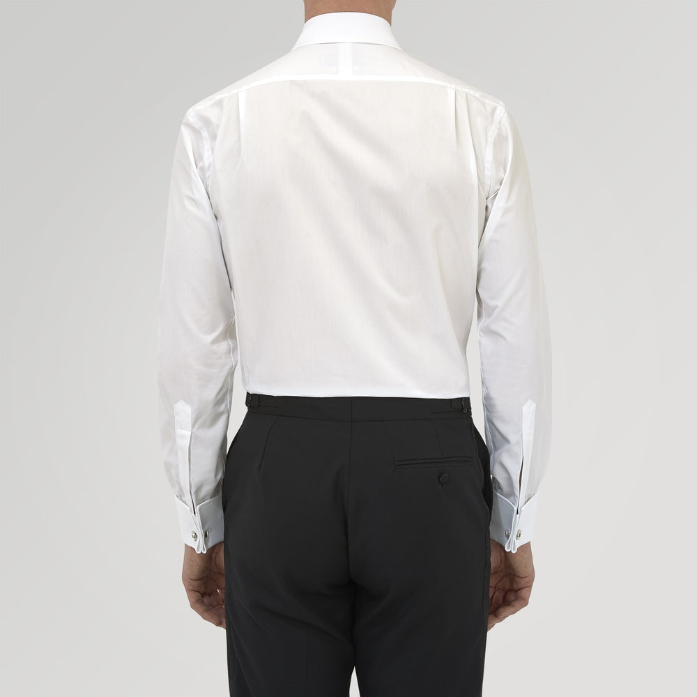 Tailored Fit White Marcella Front Shirt with Kent Collar and Double Cuffs