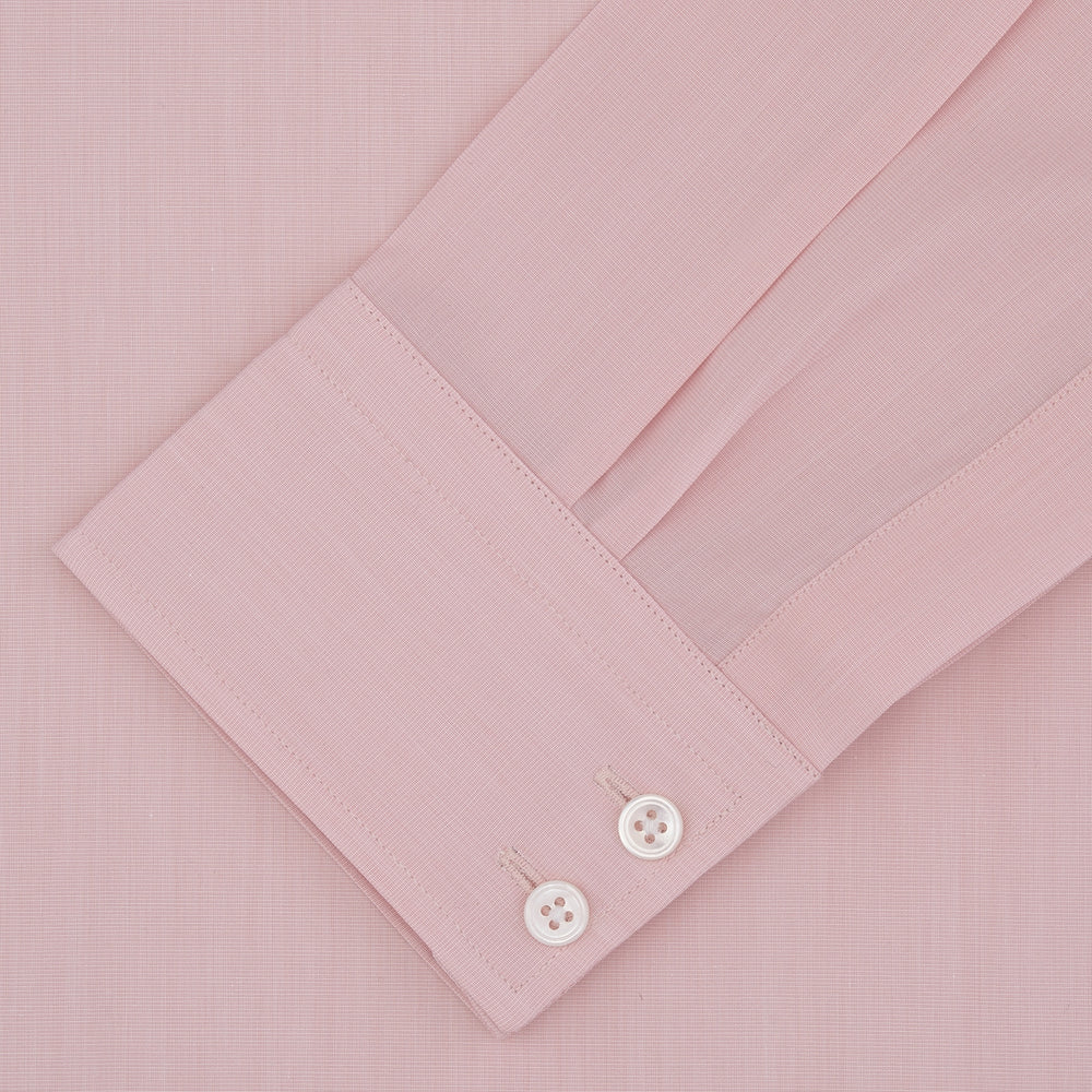 Tailored Fit Pink End-on-End Cotton Shirt with Kent Collar and 2-Button Cuffs