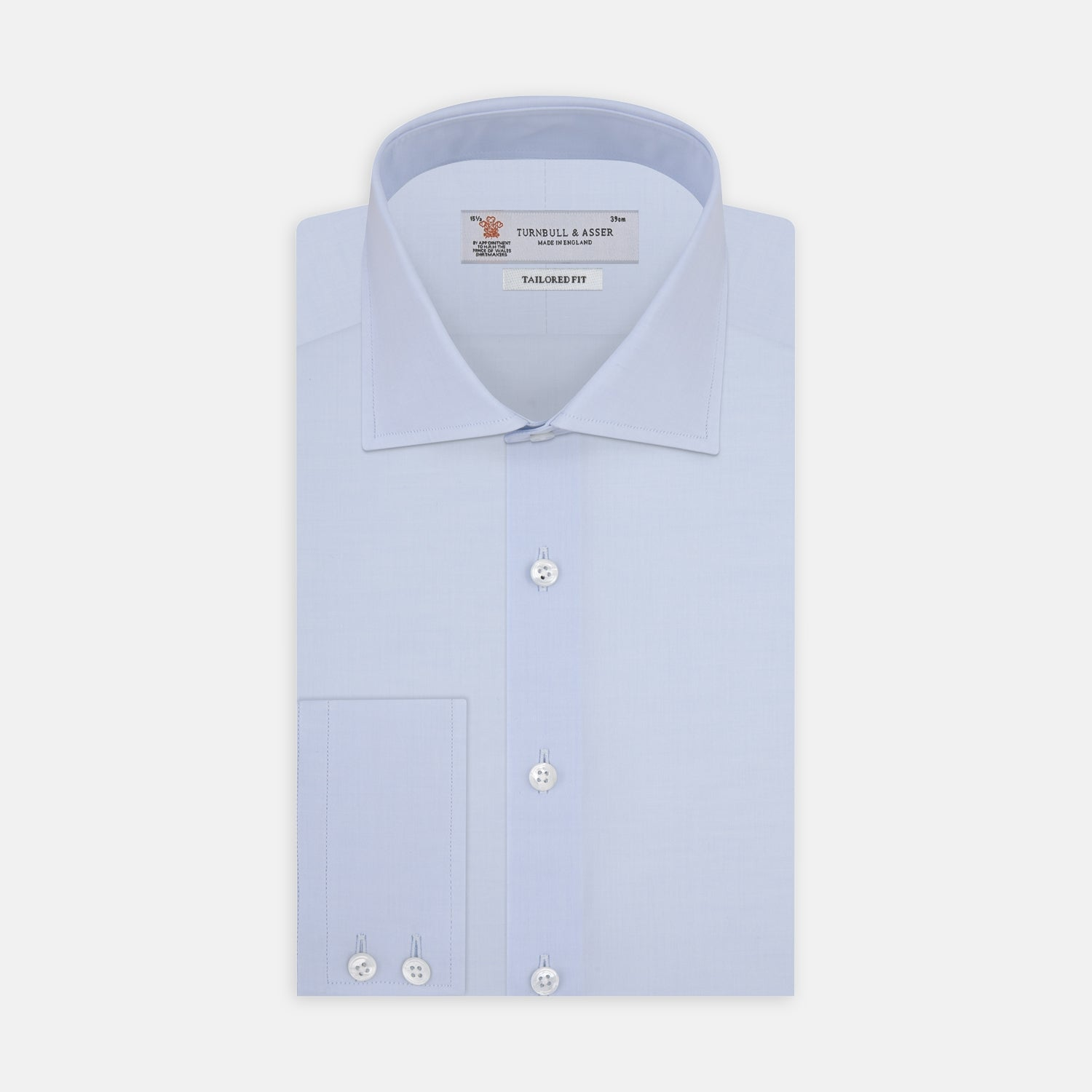 Tailored Fit Two-Fold 120 Light Blue Shirt with Kent Collar and 2-Button Cuffs