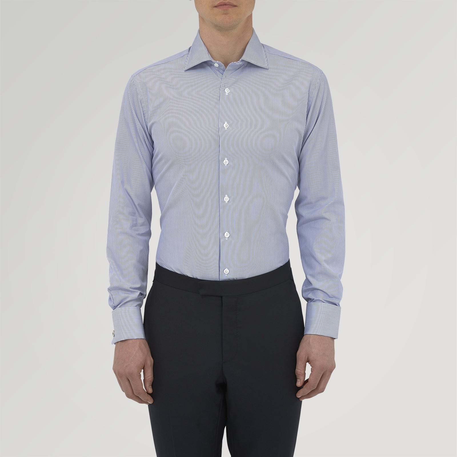 Tailored Fit Blue Fine Bengal Stripe Cotton Shirt with Kent Collar and Double Cuffs