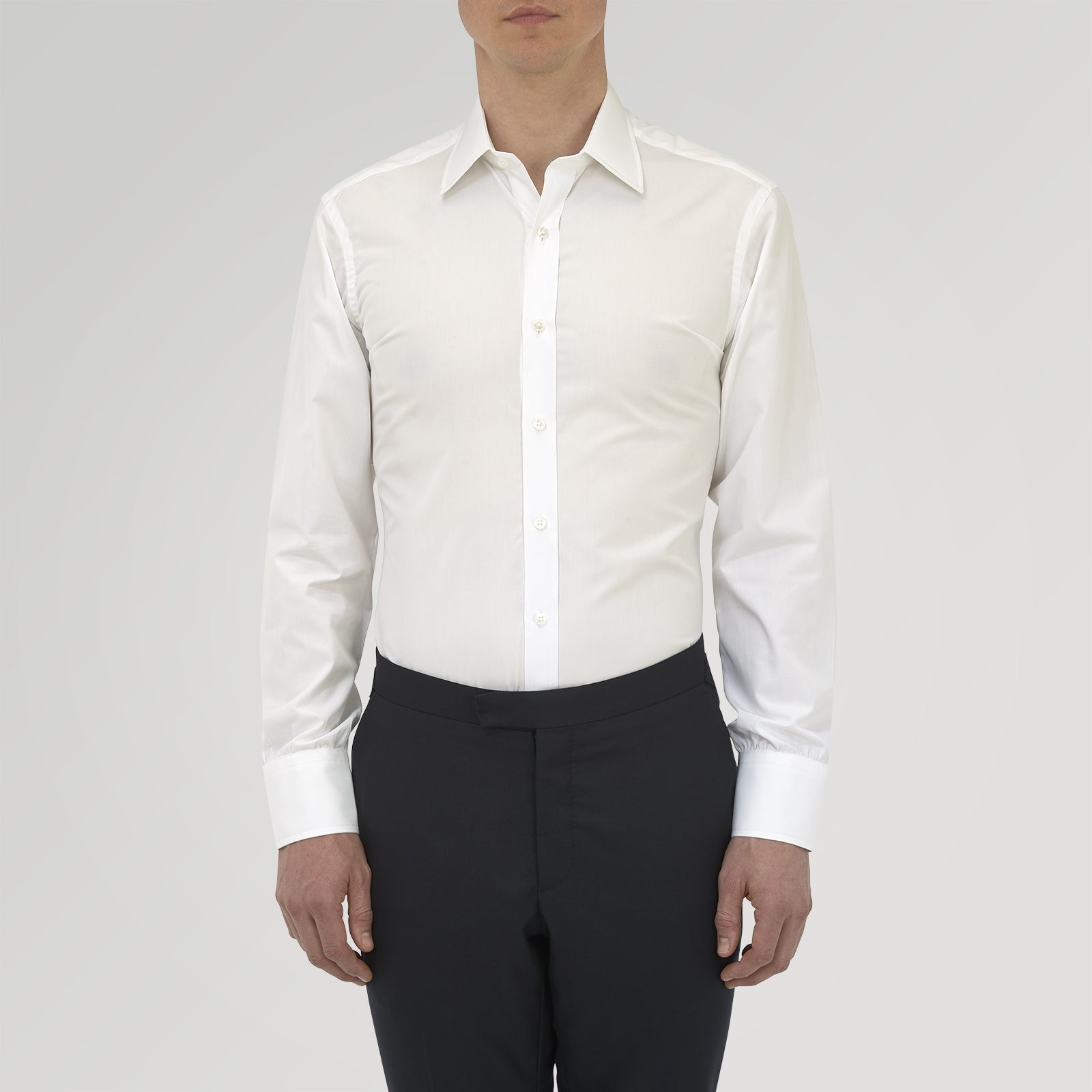 Tailored Fit Two-Fold 120 White Cotton Shirt with Kent Collar and Double Cuffs