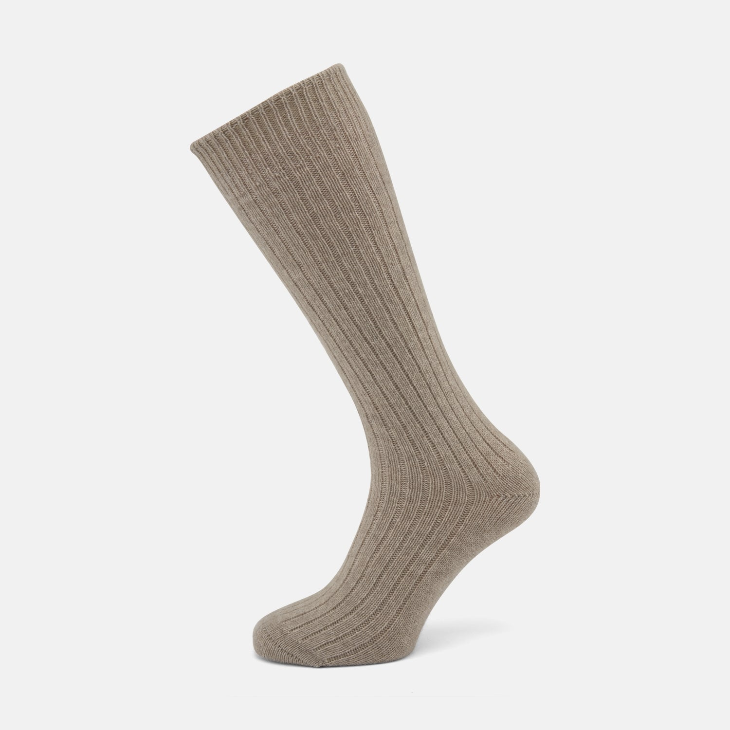 Light Brown 3/4 Length Cashmere Socks