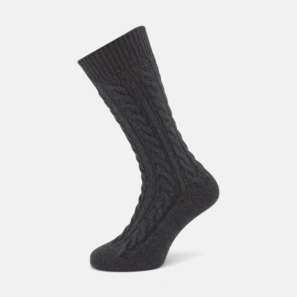 Dark Grey Cashmere Cable-Knit Socks