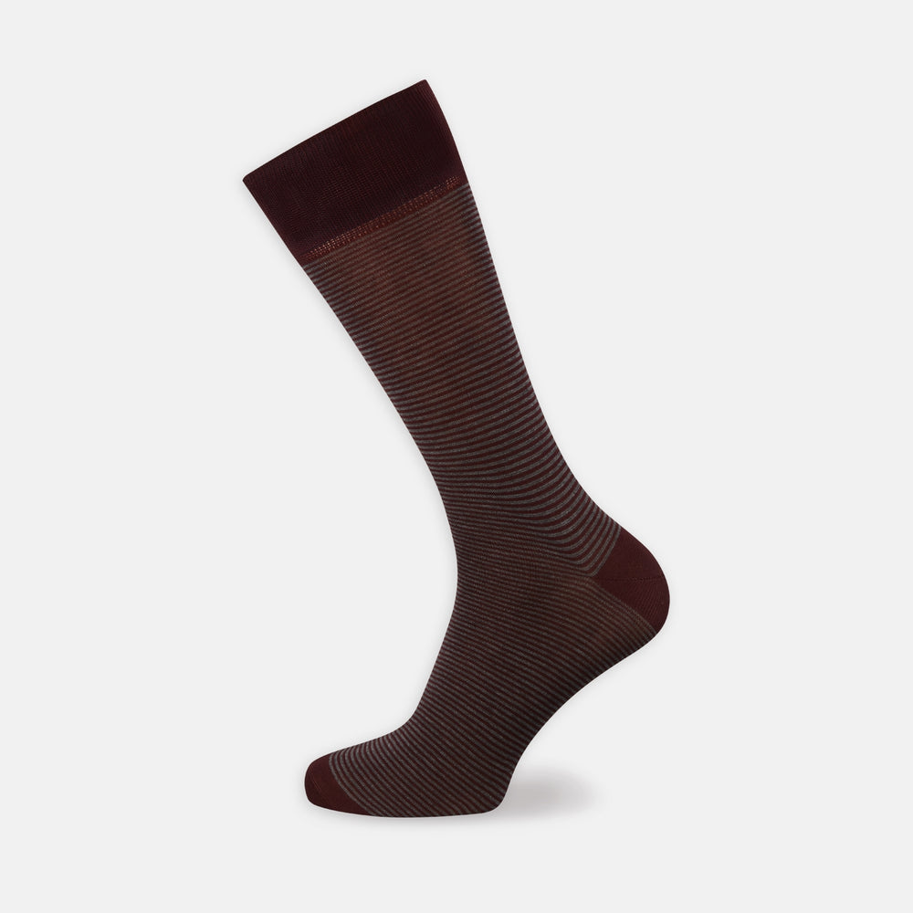 Burgundy and Charcoal Stripe Cotton Mix Short Socks