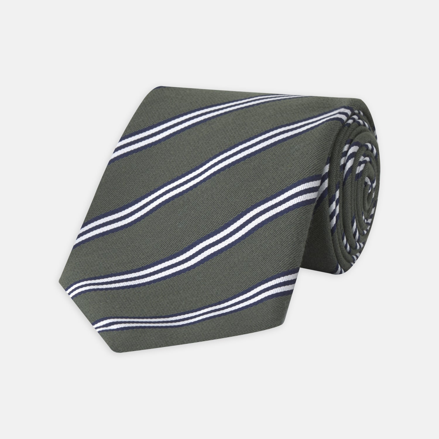Dark Green Diagonal Stripe Cotton and Silk Tie