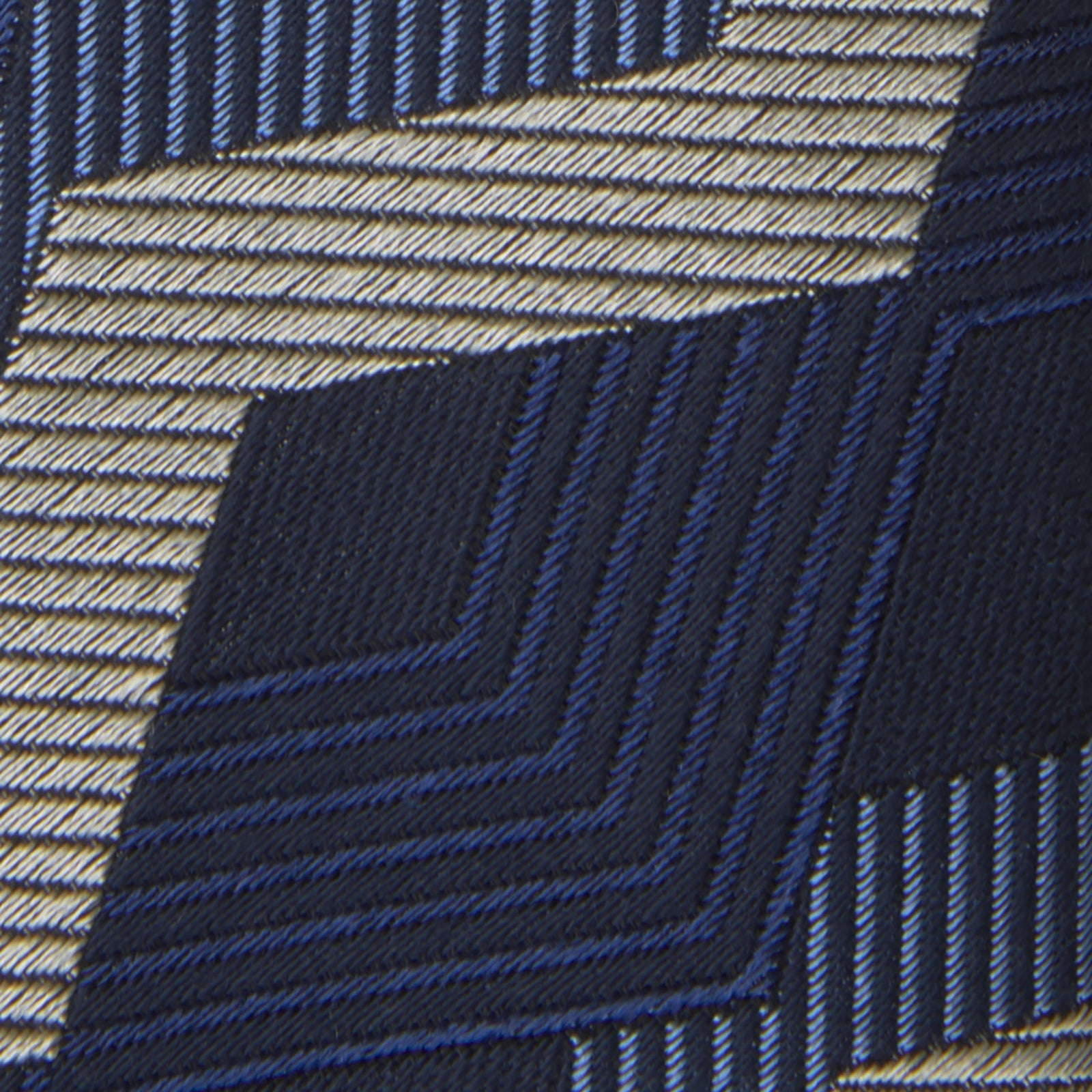 Navy and White Zig Zag Silk Tie