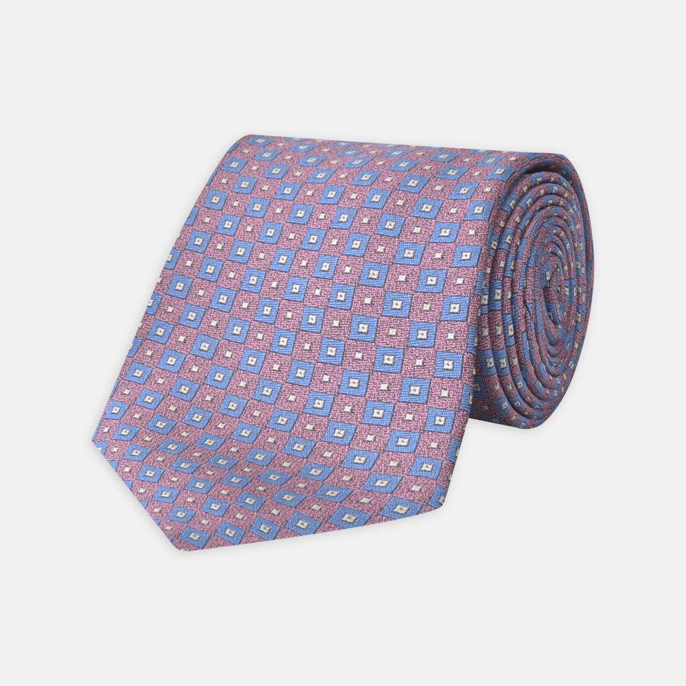 Pink and Blue Tiles Silk Tie