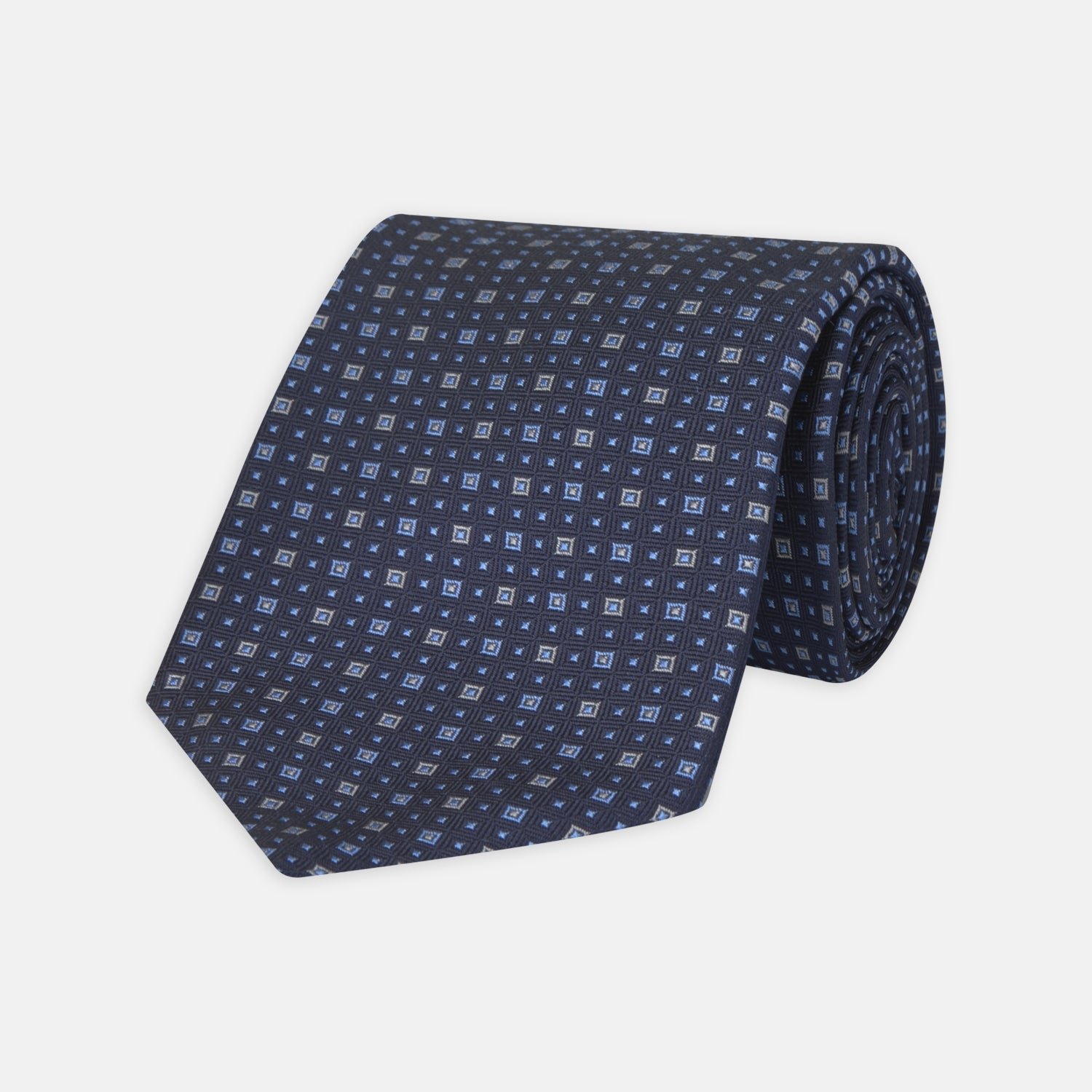 Navy and Blue Miniature Repeat Silk Tie