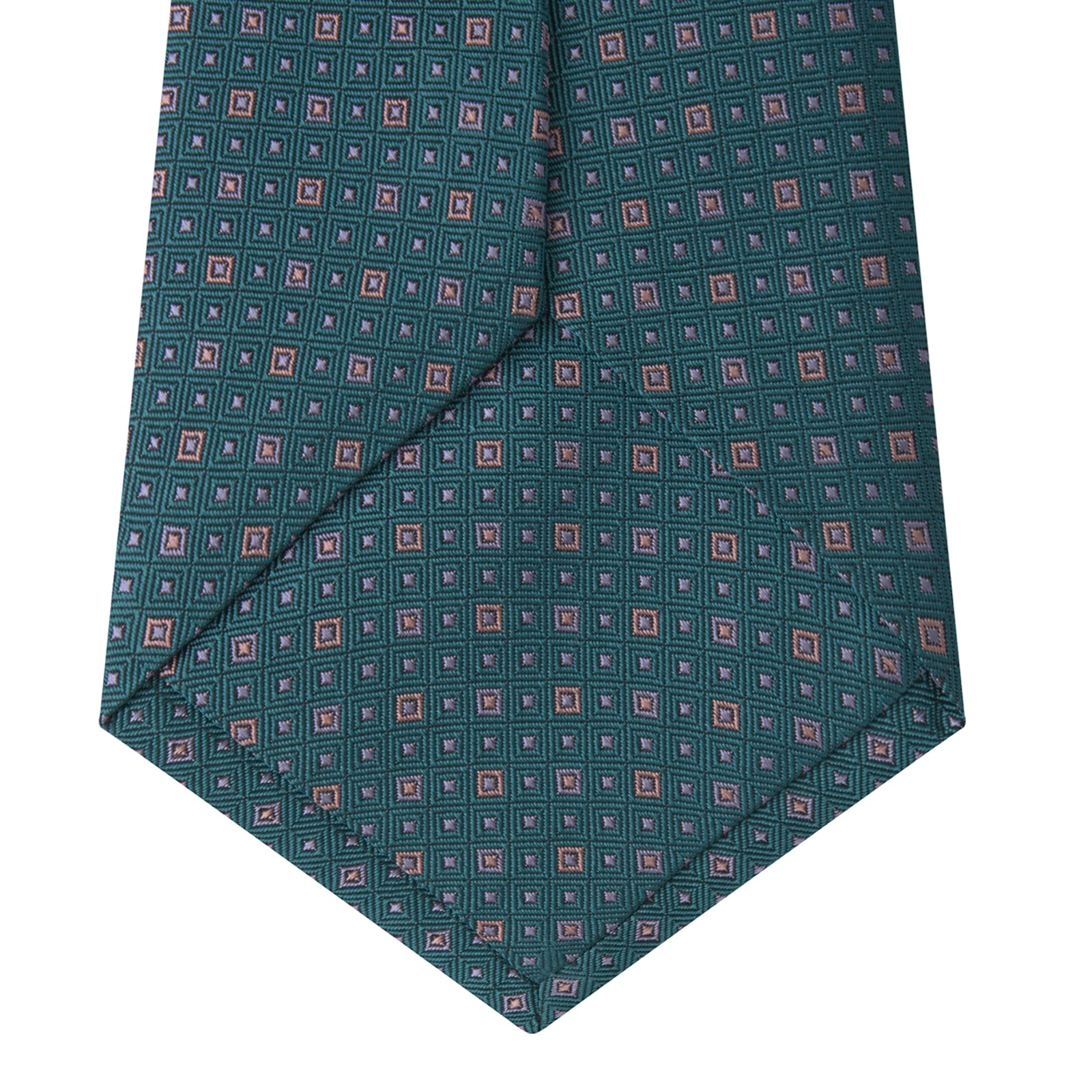 Turquoise and Pink Miniature Repeat Silk Tie