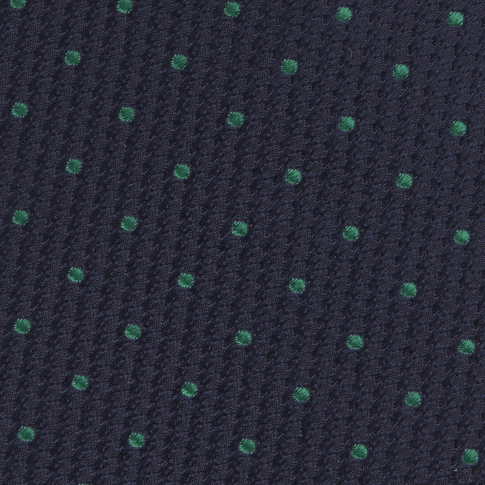 Navy and Green Spot Lace Silk Tie