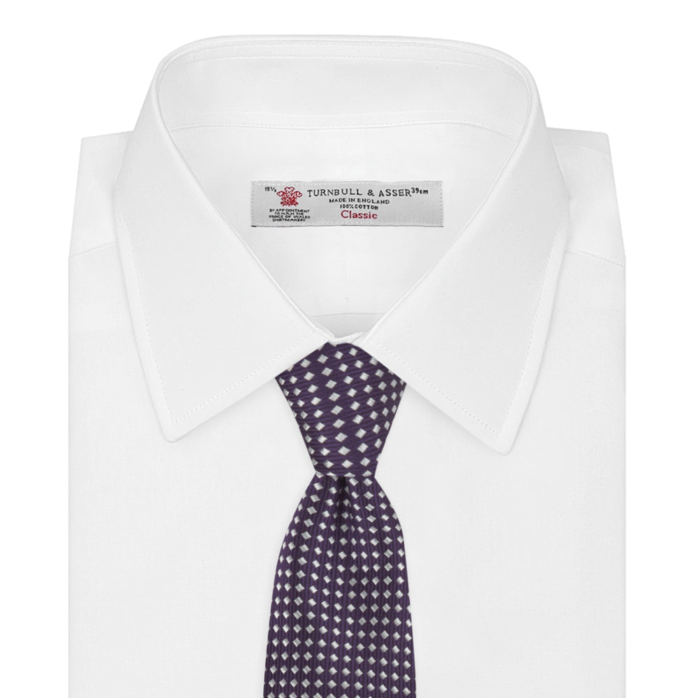 Plum and White Diamond Silk Tie