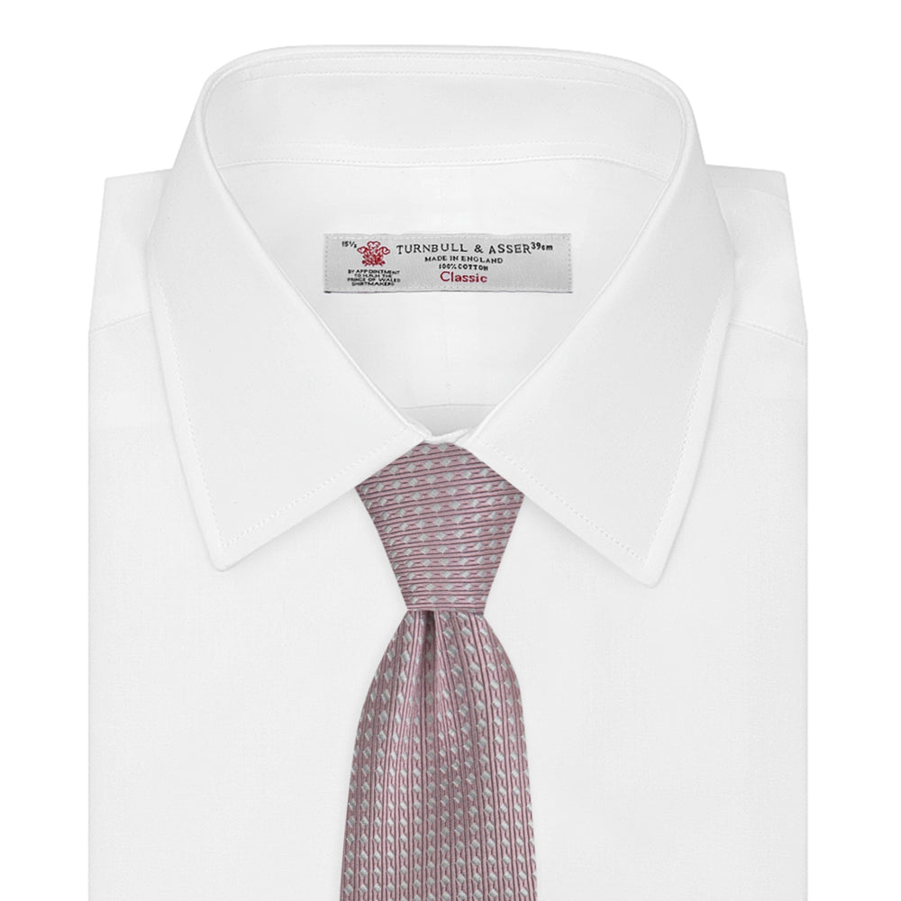 Rose and White Diamond Silk Tie