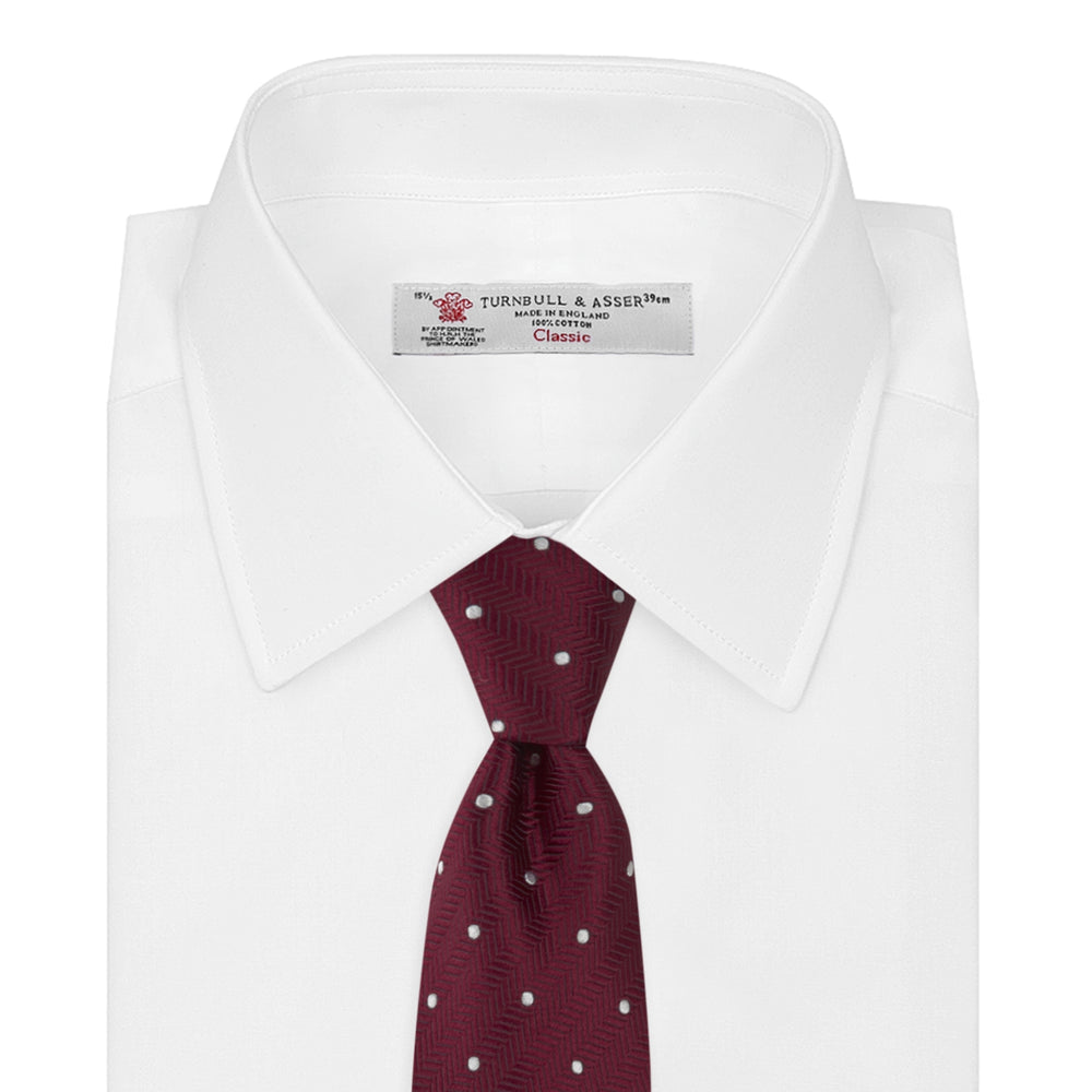 Burgundy and White Small Spot Herringbone Silk Tie