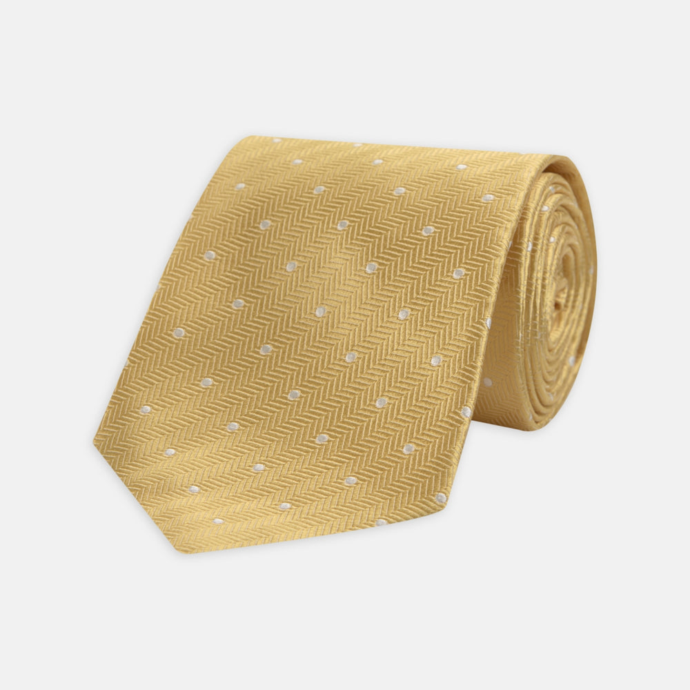 Gold and White Small Spot Herringbone Silk Tie