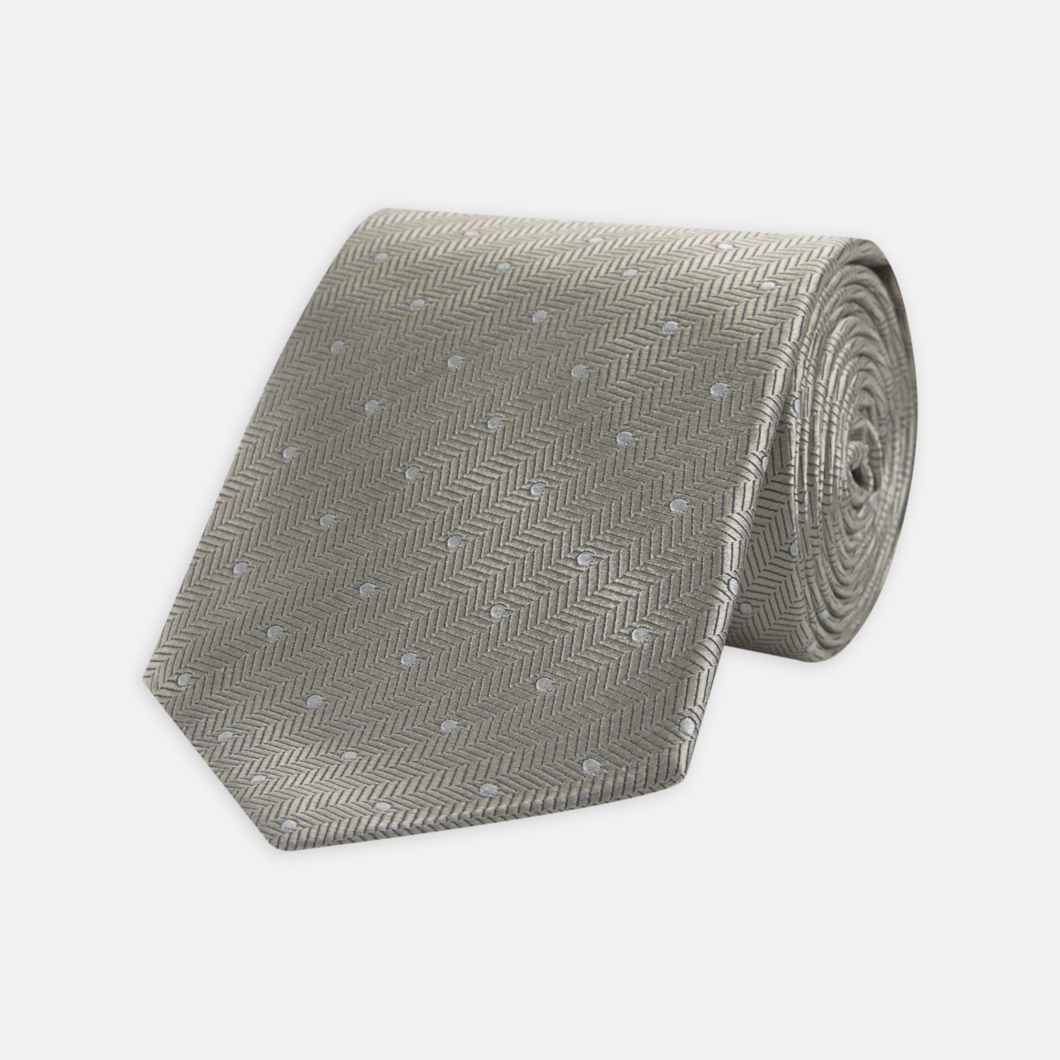 Silver and White Small Spot Herringbone Silk Tie