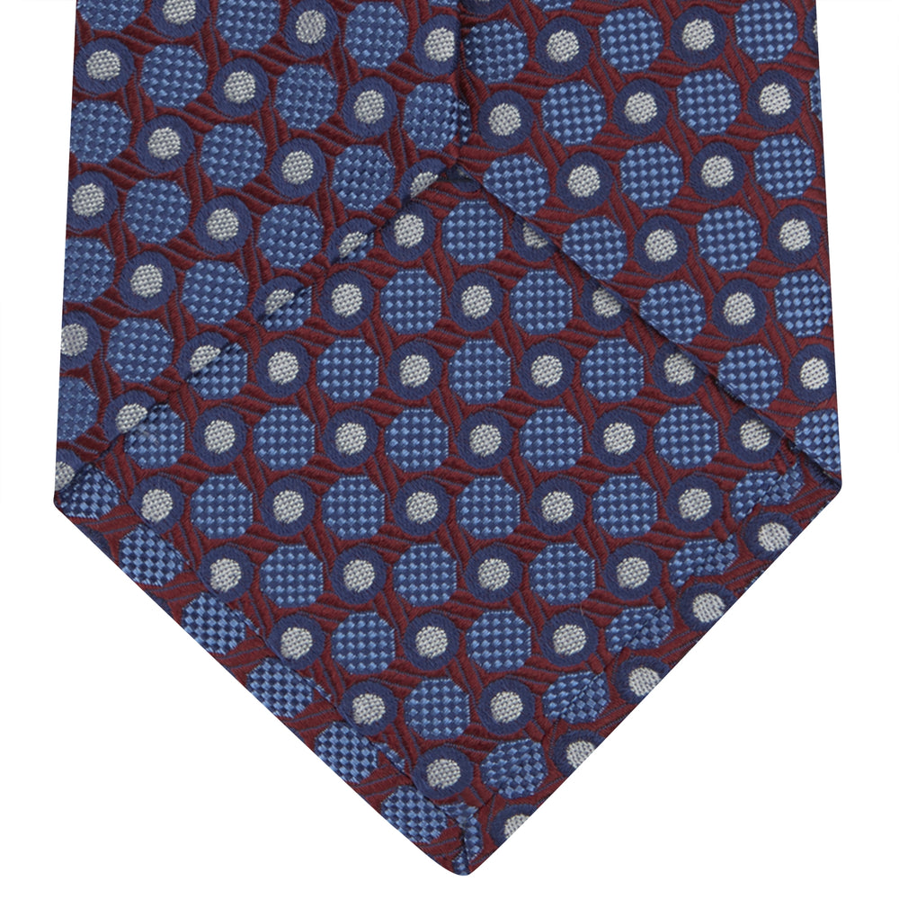Burgundy and Blue Circle and Spot Silk Tie