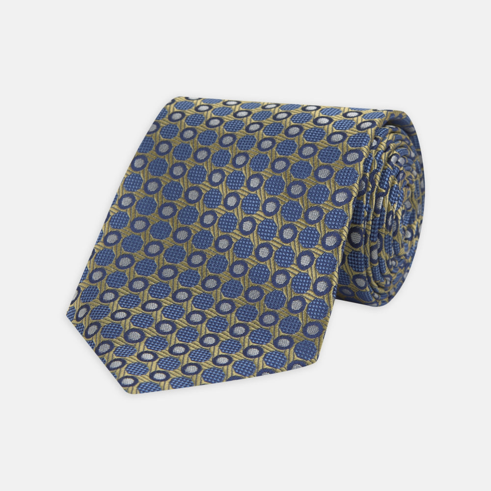Gold and Blue Circle and Spot Silk Tie
