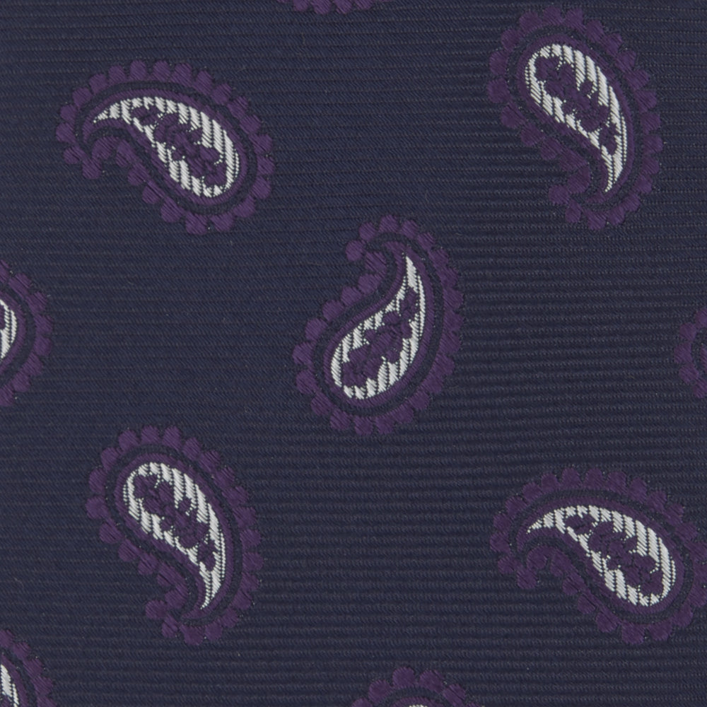 Navy and Plum Floating Paisley Silk Tie