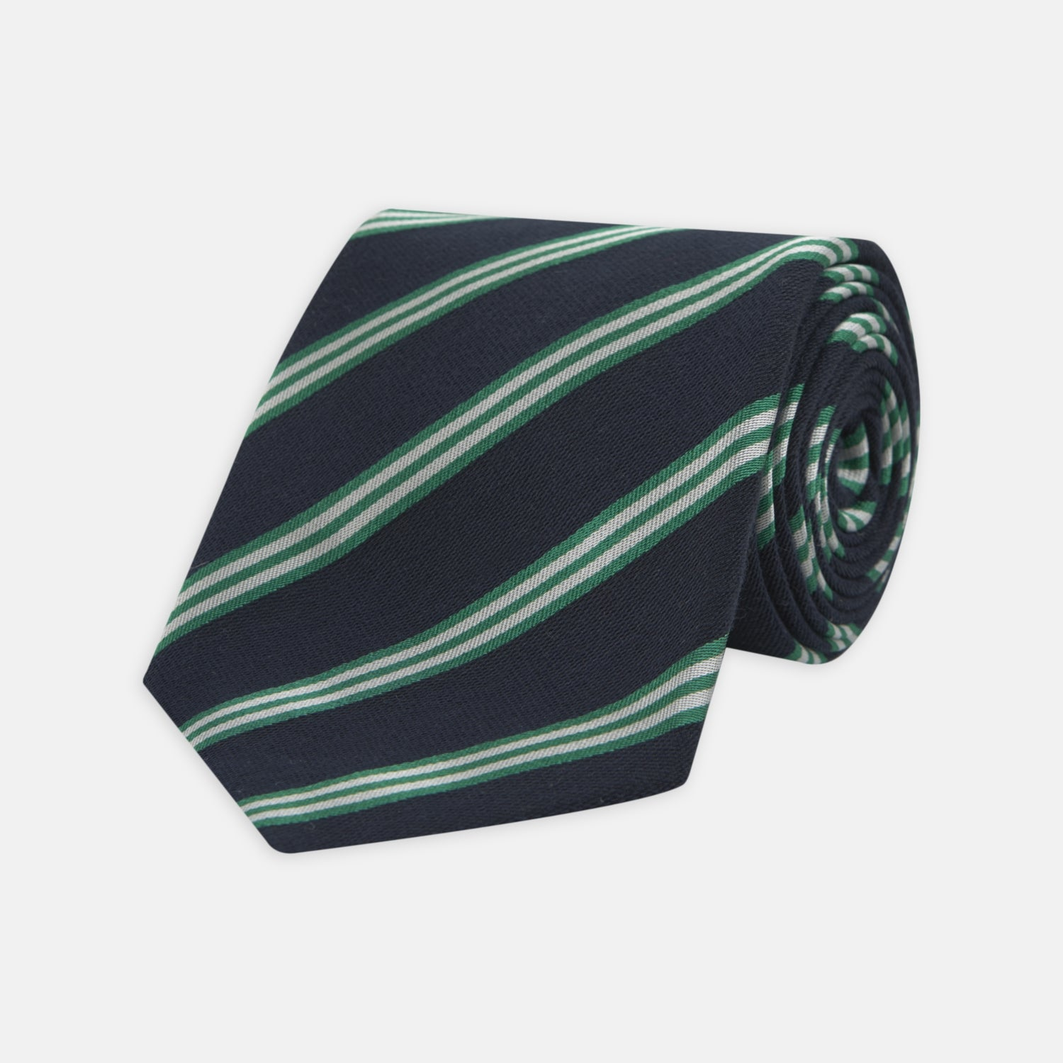 Navy, Green and White Multi Repp Stripe Silk Tie