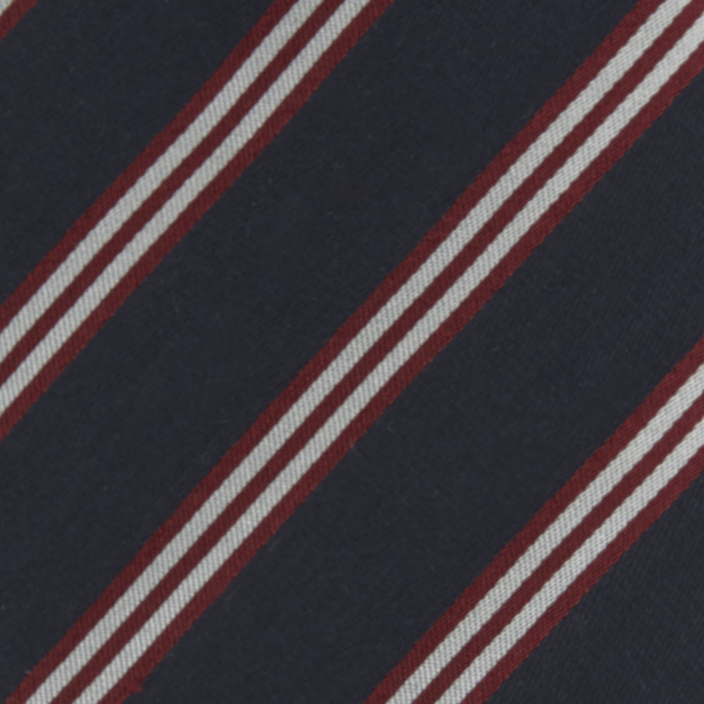 Navy, Burgundy and White Multi Repp Stripe Silk Tie